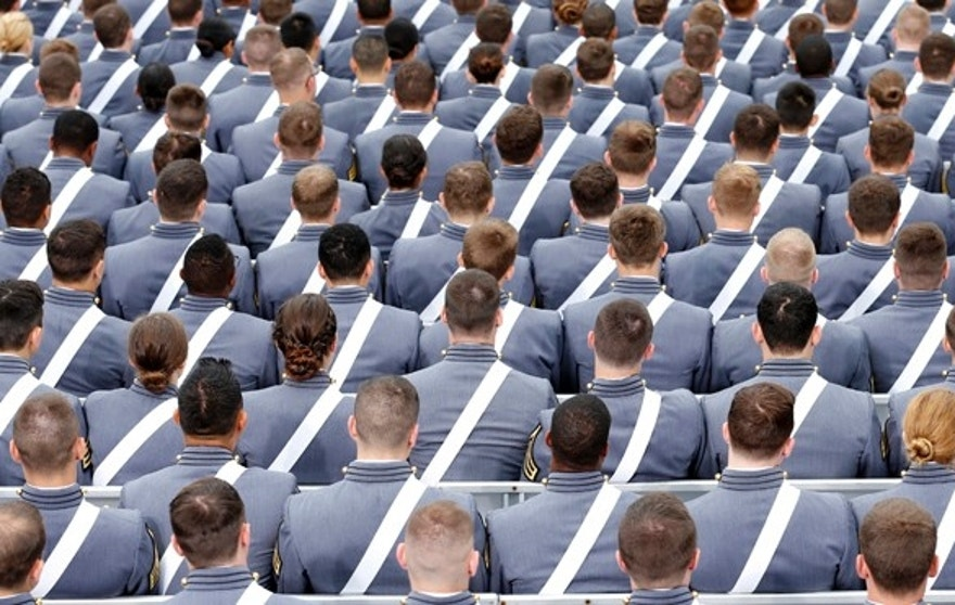 FILE 2014: Members of the graduating class listen to proceedings during  commencement ceremony at the United States Military Academy at West Point.