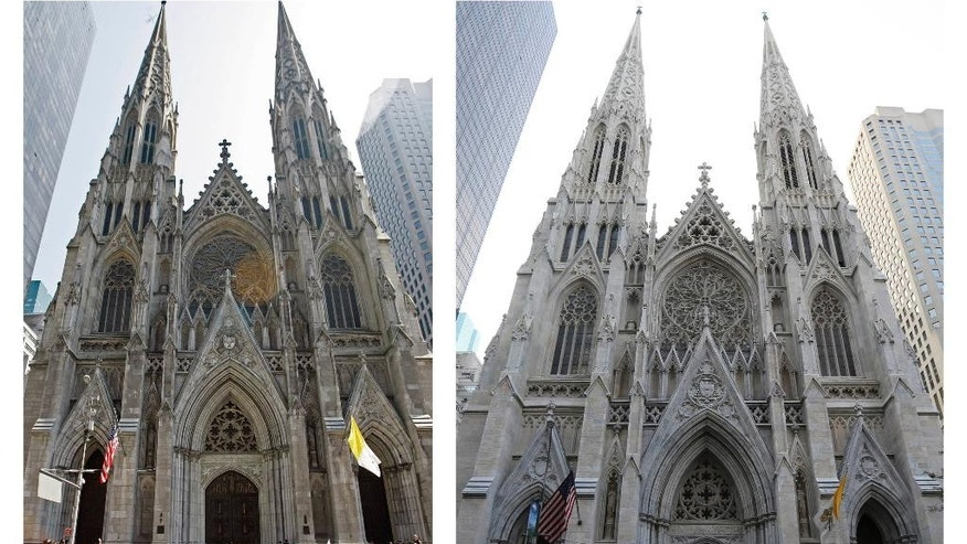 This combination of April 19, 2008 and Aug. 30, 2015 photos shows Pope Benedict XVI in front of New York's St. Patrick's Cathedral and the site seven years later after restoration of the cathedral. The restoration project was officially announced on St. Patrick's Day in 2012. A three-year restoration project at the cathedral is coming to an end, just in time for a late September visit from Pope Francis. (AP Photo/Richard Drew, Mary Altaffer)