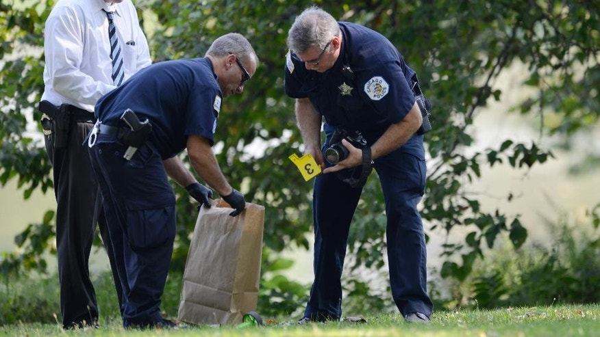 Chicago Police investigators collect evidence while searching at Garfield Park, Sunday, Sept. 6, 2015, in Chicago, after a toddler's decomposed feet and hand were found in a lagoon at the park on Saturday. (AP Photo/Paul Beaty)