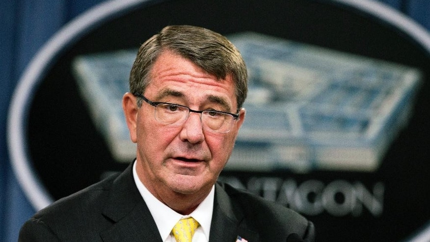 FILE - In this Aug. 20, 2015, file photo, Defense Secretary Ash Carter speaks during a news conference at the Pentagon. Carter has reminded the Pentagon's senior intelligence corps that they are expected to give him their unvarnished views, amid allegations that the military command overseeing the war against the Islamic State distorted or altered intelligence assessments to exaggerate progress against the military group, officials said Sept. 10. (AP Photo/Manuel Balce Ceneta, File)