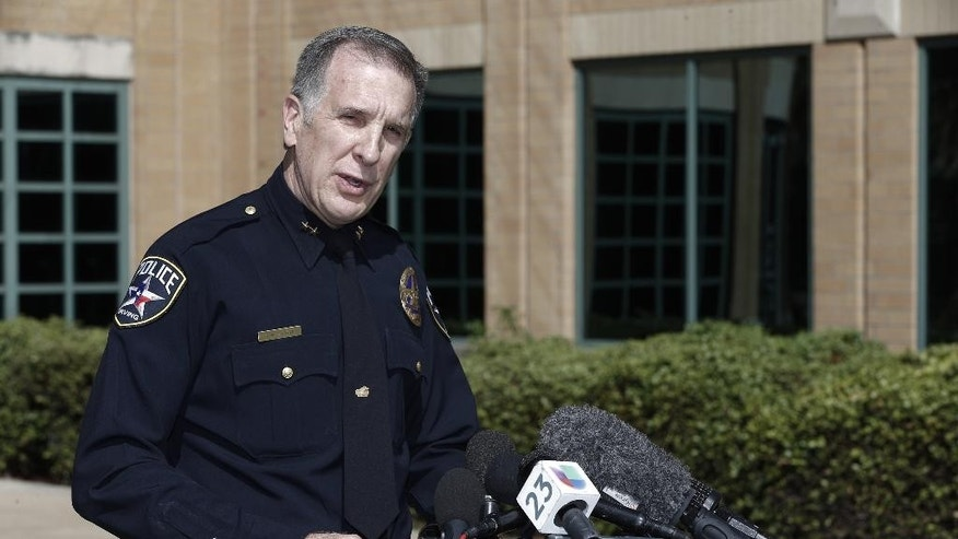 Irving police Chief Larry Boyd delivers a statement regarding Ahmed Mohamed, a 14-year-old student detained by police on Monday, during a news conference, Wednesday, Sept. 16, 2015, in Irving, Texas.  Police detained the 14-year-old Muslim boy after a teacher at MacArthur High School decided that a homemade clock he brought to class looked like a bomb, according to school and police officials. The family of Ahmed Mohamed said the boy was suspended for three days from the school in the Dallas suburb.  (AP Photo/Brandon Wade)