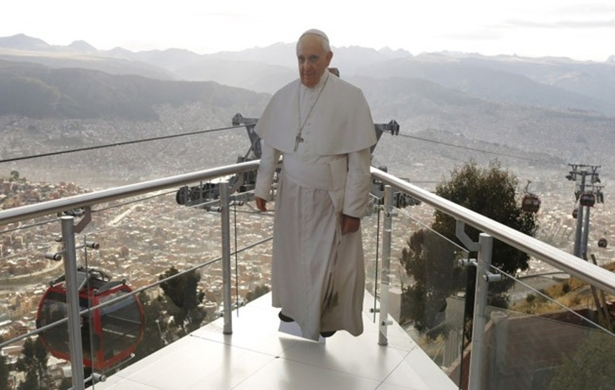 "Pope Francis called ""unfettered capitalism"" the ""dung of the devil"" during his trip to South America. (The Associated Press)"