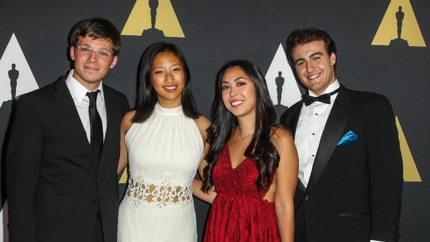 "Animation Category winners, from left, Seth Boyden, winner of the Silver medal for ""An Object at Rest"", Alyce Tzue, winner of the Gold medal for ""Soar, Nicholas Manfredi and Elizabeth Ku-Herrero, winners of the Bronze medal for ""Taking the Plunge"" attend the 42nd Student Academy Awards Ceremony at the Samuel Goldwyn Theater on Thursday, September 17, 2015 in Los Angeles. (Photo by Paul A. Hebert/Invision/AP)"