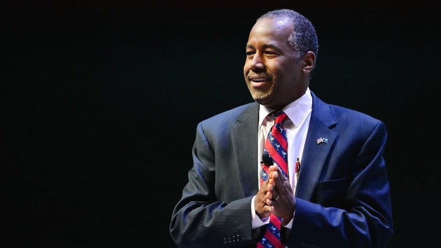 Republican presidential candidate Ben Carson speaks at a presidential forum sponsored by Heritage Action at the Bon Secours Wellness Arena, Friday, Sept. 18, 2015, in Greenville, S.C. (AP Photo/Richard Shiro)