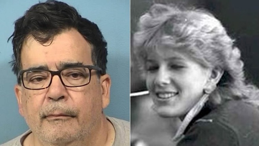 Booking photo of Michael R. Jones; Photo of Kristina Wesselman, 15, murdered in July, 1985. (DuPage County Sheriff's Office)