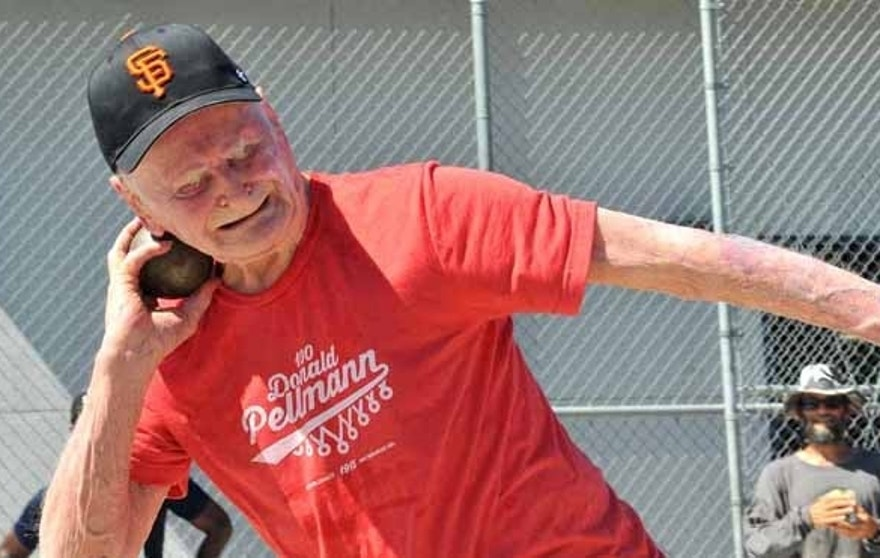 Don Pellmann, 100, set five world records in his age-group at a San Diego track meet.