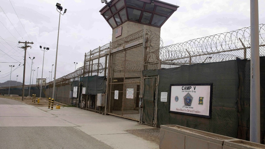 FILE - In this June 7, 2014 file photo, the entrance to Camp 5 and Camp 6 at the U.S. military's Guantanamo Bay detention center, at Guantanamo Bay Naval Base, Cuba.