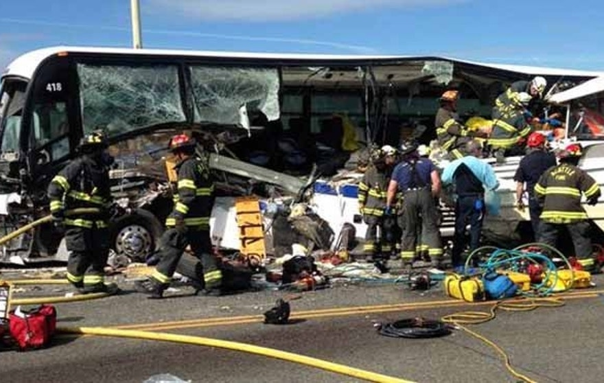 A tour bus crashed into a charter bus on a Seattle bridge Thursday.