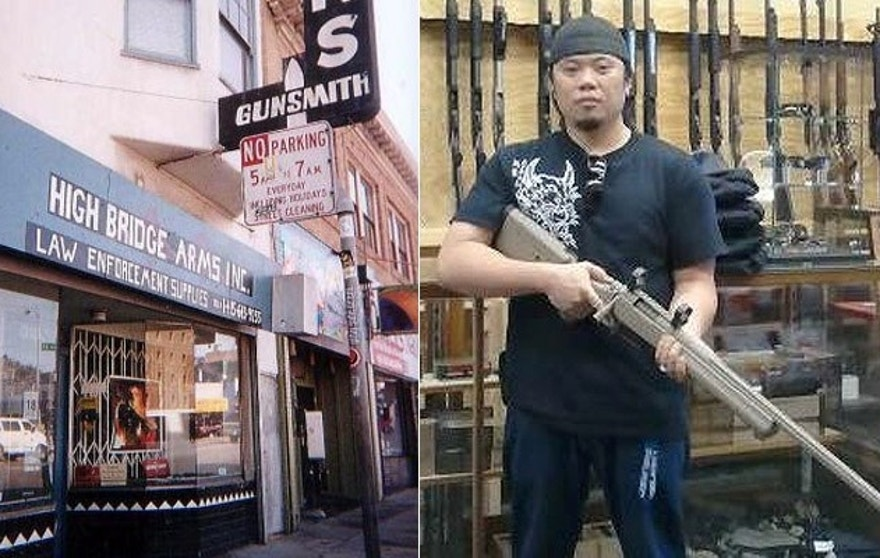 The gun shop has stood in San Francisco's Mission District since the 1950s, but Steven Alcairo, (r.), said it is shutting down.