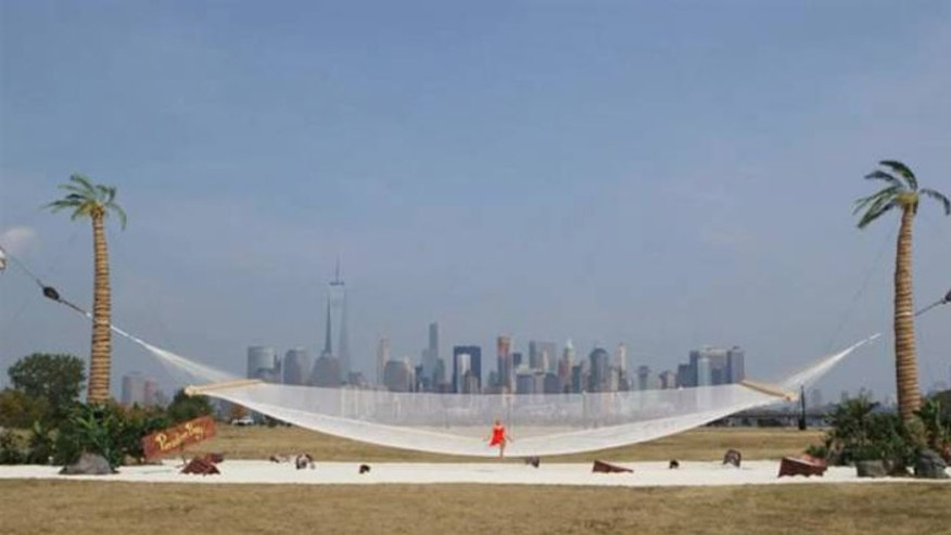 The Guinness Record for the world's largest hammock was earlier this month with this hammock Jersey City, N.J. (AP)