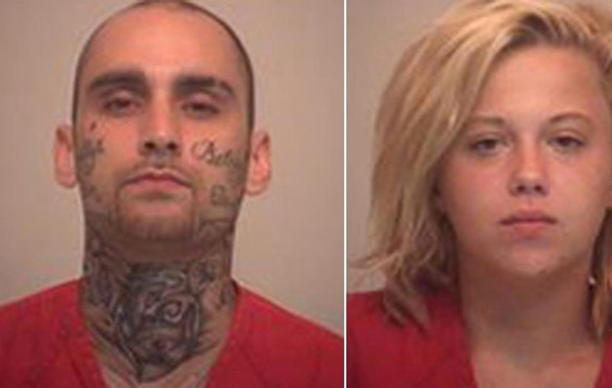 Mug shots of accused bank robbers John Mogan and Ashley Duboe. (Pickaway County Sheriff's Office)