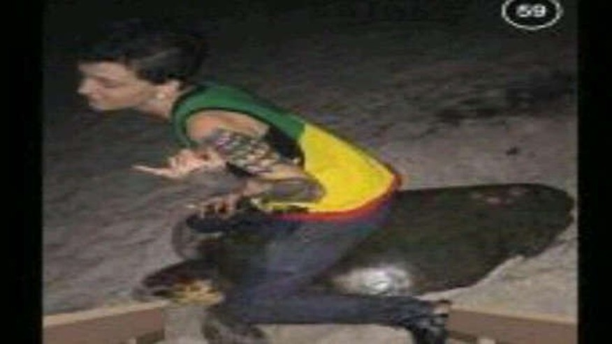 This photo allegedly shows Stephanie Moore, 20, riding a sea turtle.