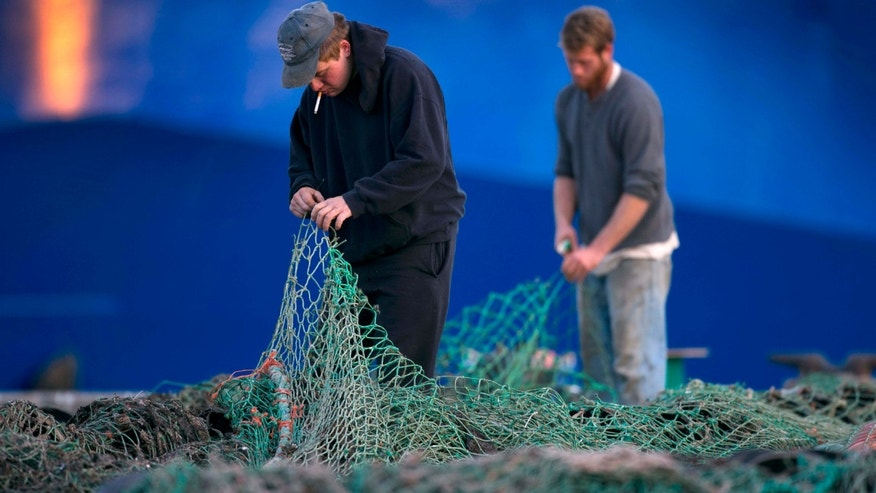 FILE - In this Nov. 15, 2013 file photo, fishermen Ed Stewart, left, and Tannis Goodsen mend groundfishing nets on Merrill Wharf in Portland, Maine.