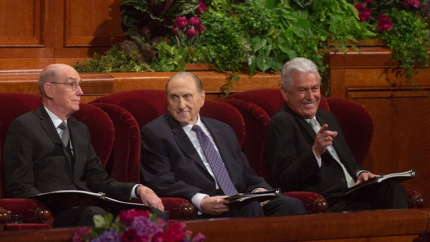 Oct. 3, 2015: Henry B. Eyring, First Counselor in the First Presidency, left, President Thomas S. Monson, of The Church of Jesus Christ of Latter-day Saints, middle, and Dieter F. Uchtdorf, Second Counselor in the First Presidency, right, attend the opening session of the two-day Mormon church conference.