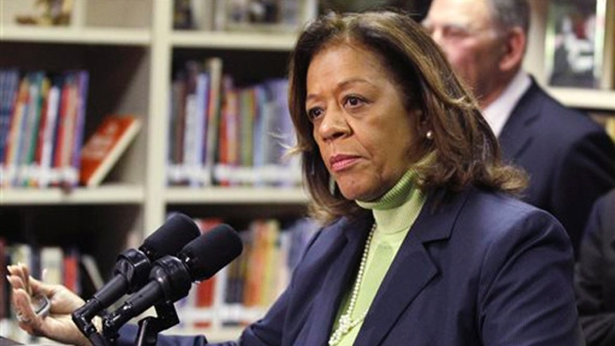 Oct. 12, 2012. In this photo, Chicago Public Schools CEO Barbara Byrd-Bennett speaks at a news conference in Chicago. The former CEO has been indicted on corruption charges following a federal investigation into a $20 million no-bid contract.