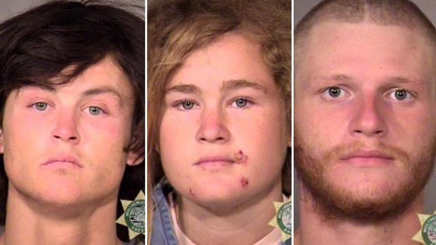 Oct. 7, 2015: Multnomah County Sheriff's Office photos show three suspects who were arrested in Portland, Ore., in the killing of Steve Carter, a tantra yoga teacher, on a hiking trail in Marin County, Calif. From left are Sean Michael Angold, 24; Lila Scott Allgood, 19; and Morrison Haze Lampley, 23. (Multnomah County Sheriff's Office/Portland police via AP)