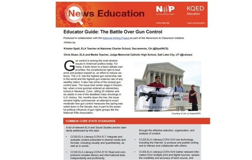 """The Battle Over Gun Control"" was authored by an NPR affiliate and the National Writing Project and states that  ""moderate gun control"" measures were deep-sixed by the influence of the NRA."