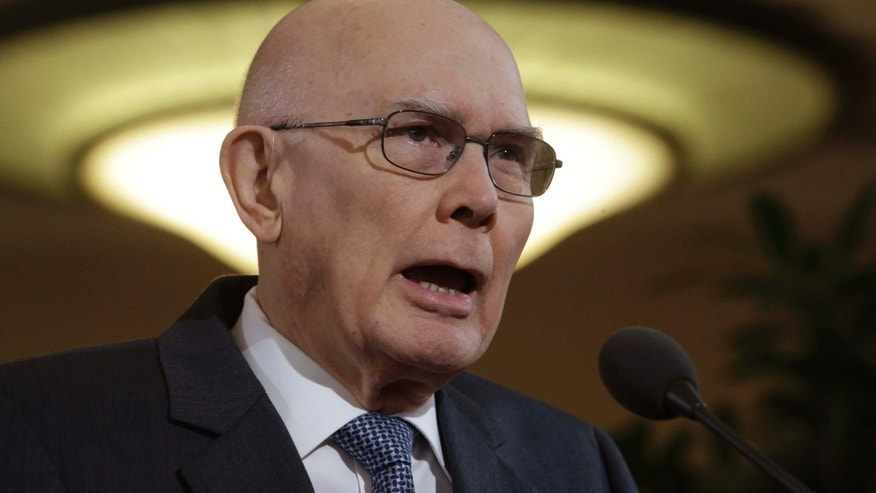 FILE - In this Jan. 27, 2015, file photo, shows Dallin H. Oaks, a member of the Quorum of the Twelve Apostles of the The Church of Jesus Christ of Latter-day Saints, speaking during a news conference at the Conference Center, in Salt Lake City.