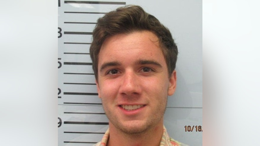 Oct. 16, 2015- Booking photo released by the  Lafayette County Detention Center shows James Declan Basile, 1 of 5 University of Mississippi students arrested following the Oct. 6 beating of another student at the Sigma Pi fraternity house. Basile is charged with simple assault, hazing and theft.  (Lafayette County Detention Center/The Oxford Eagle, via AP)