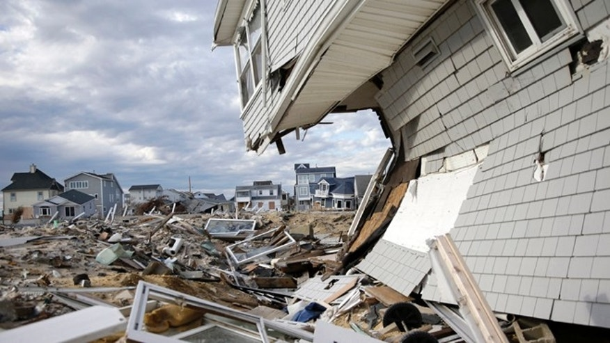 This April 25, 2013 file photo shows homes that were destroyed by Superstorm Sandy, at Ortley Beach in Toms River, N.J.