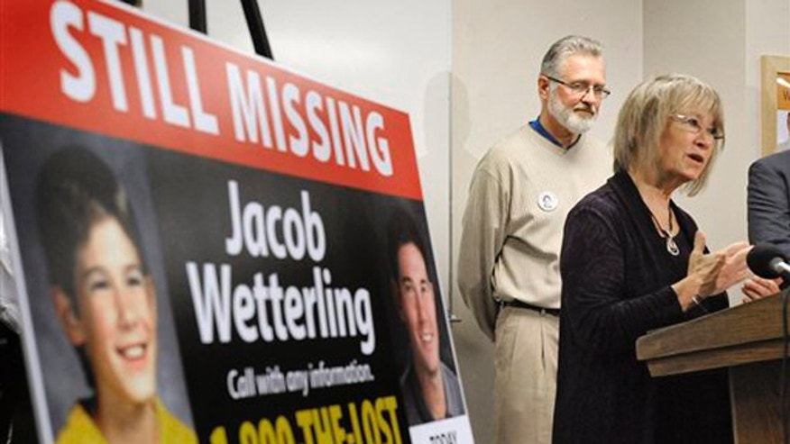 Oct. 14, 2014. In this photo, Patty, right, and Jerry Wetterling take part in a news conference at the Stearns County Law Enforcement Center in St. Cloud, Minn., to announce the installation of six new billboards that will be placed near where their son Jacob was abducted in 1989.