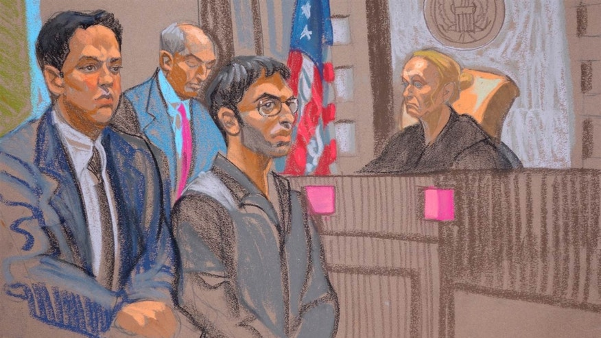 Nader Saadeh in court. His brother Alaa pleaded guilty to conspiring to support ISIS. (Sketch by Christine Cornell)
