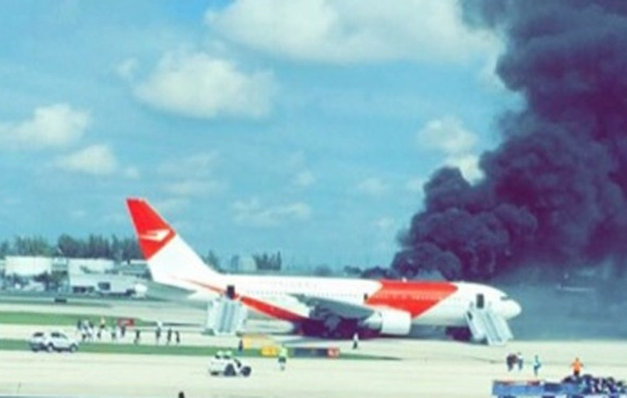A passenger jet caught fire on a Florida runway on Thursday.
