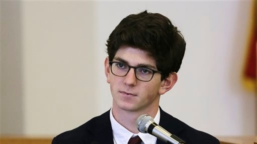 In this Aug. 26, 2015, file photo, former St. Paul's School student Owen Labrie testifies in his trial at Merrimack Superior Court in Concord, N.H.  (AP Photo/Charles Krupa, Pool, File)