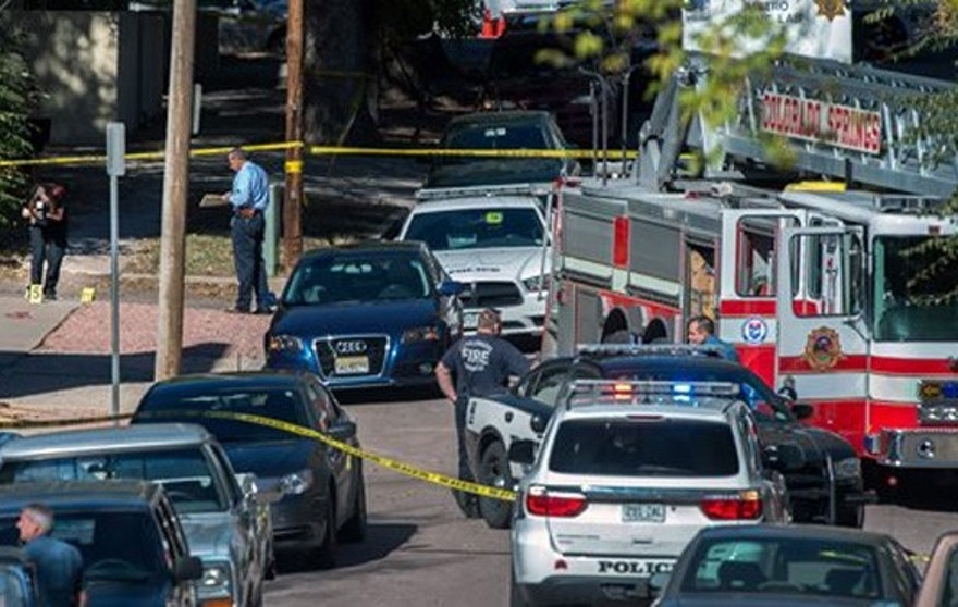 Oct. 31, 2015: Police investigate the scene after a series of shootings in Colorado Springs, Colo.