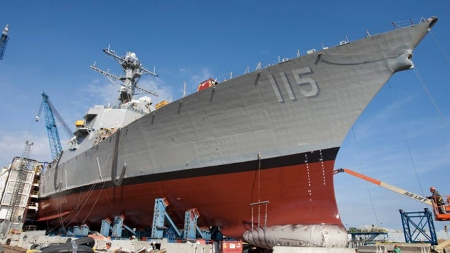 Oct. 21, 2015, photo shows newly christened USS Rafael Peralta at Bath Iron Works in Bath, Maine.