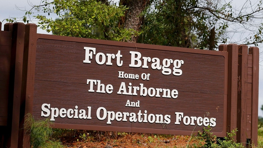 Sept. 26, 2014: A sign of Fort Bragg is seen in Fayetteville, North Carolina.