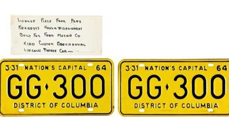 License plates on limo JFK was riding in when he was killed. (AP)
