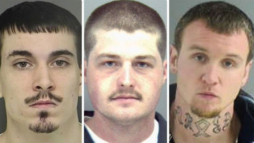 This undated photo shows, from left, Ronald B. Chaney III, Robert C. Doyle, and Charles D. Halderman. All three are facing weapons charges in connection with an alleged plot to attack synagogues and black churches in Virginia (Henrico County Police)