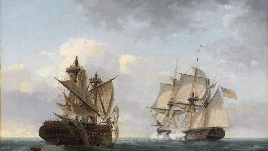 The USS United States battling the HMS Macedonian during the War of 1812.
