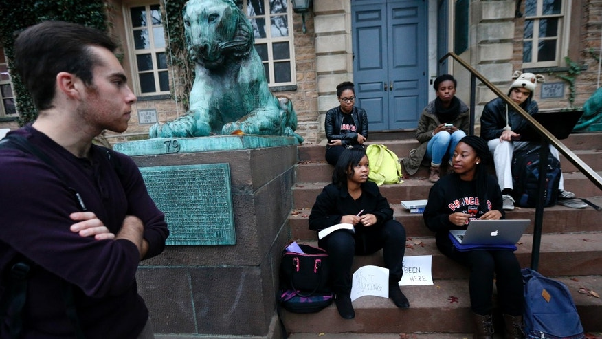 Nov. 18, 2015: Students gather at the entrance of Nassau Hall at Princeton University in Princeton, N.J.