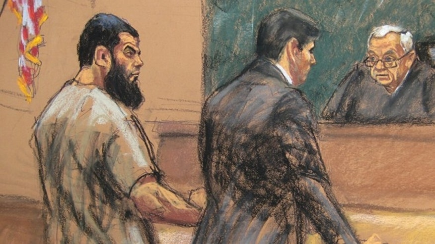 Nov. 24, 2015: A courtroom sketch of Abid Naseer being sentenced by a judge.