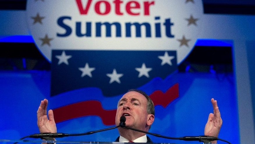 "FILE - In this Sept. 25, 2015 file photo, Republican presidential candidate, former Arkansas Gov. Mike Huckabee speaks during the Values Voter Summit, held by the Family Research Council Action, in Washington. Some leading Republican presidential candidates seem to view Muslims as fair game for increasingly harsh words they might not dare use against any other group for fear of the political cost. So far, that strategy is winning support from conservatives influential in picking the nominee. Huckabee said, "" I'd like for Barack Obama to resign if he's not going to protect America and instead protect the image of Islam.''(AP Photo/Jose Luis Magana, File)"