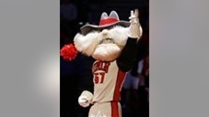 Feb. 1, 2014: In this file photo, UNLV mascot Hey Reb warms up the crowd before an NCAA college basketball game in Las Vegas.