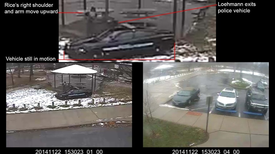 This combination of still images taken from a surveillance video and released Saturday, Nov. 28, 2015, by the Cuyahoga County Prosecutor's Office, shows Cleveland police officers arriving at Cudell Park on a report of a man with a gun.