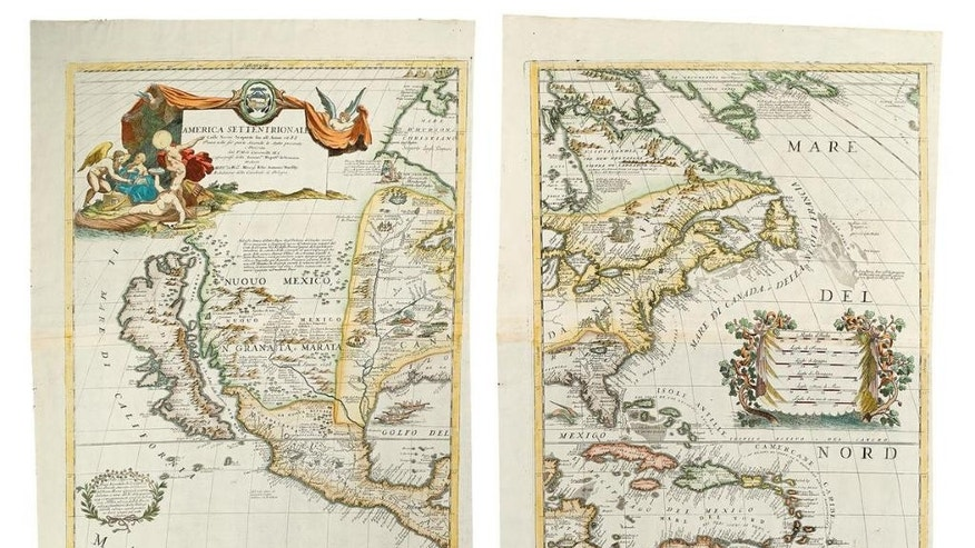 This photo provided courtesy of Swann Auction Galleries shows an Italian map made in 1688 that is among the historic maps and atlases up for sale Tuesday, Dec. 8, 2015, at Swann Auction Galleries in New York City. The map depicts California as an island. (Courtesy of Swann Auction Galleries via AP)