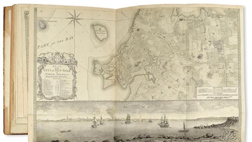 This photo provided courtesy of Swann Auction Galleries shows a map of the lower half of Manhattan island and surrounding area, included in a British atlas printed during the Revolutionary War, and is among the historic maps and atlases up for sale Tuesday, Dec. 8, 2015, at Swann Auction Galleries in New York City. (Courtesy of Swann Auction Galleries via AP)