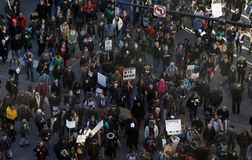 Protesters march near downtown Chicago Wednesday.