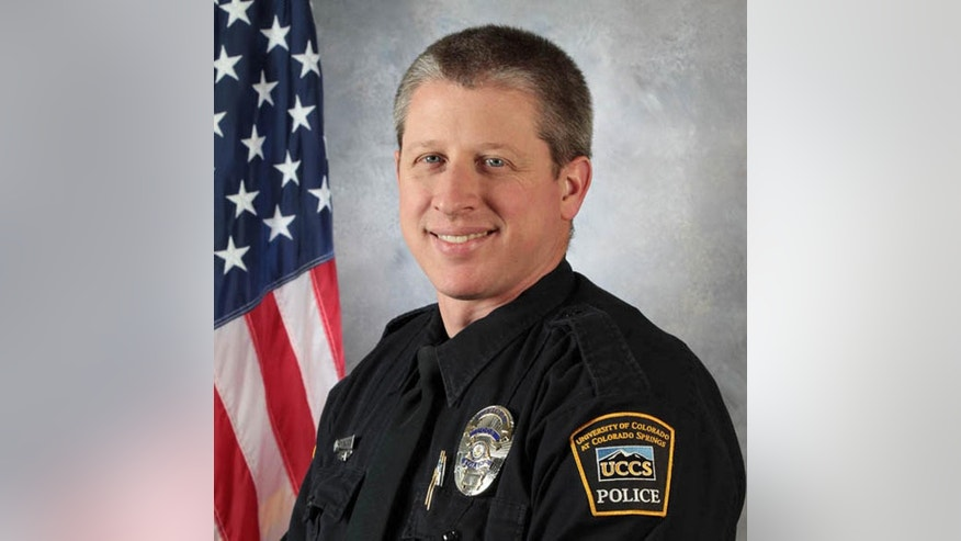 FILE - This undated file photo provided by the University of Colorado at Colorado Springs shows officer Garrett Swasey, who was killed in a shooting at a Planned Parenthood clinic in Colorado Springs, Colo., Friday, Nov. 27, 2015. Police suffered their highest casualty count in more than two years in the Colorado Springs Planned Parenthood shootings, a reflection of the danger officers face in mass shootings. (University of Colorado at Colorado Springs via AP, File)