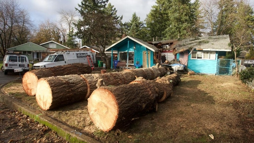 Sections of a large fir tree that fell on a house overnight and killed an elderly woman rest in the yard in Portland, Ore., Wednesday, Dec. 9, 2015. Heavy rain and wind has caused at least one death in the region. (AP Photo/Steve Dipaola)