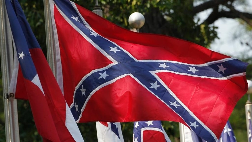 The Confederate flag flies outside a museum at the Confederate Memorial Park in Alabama.
