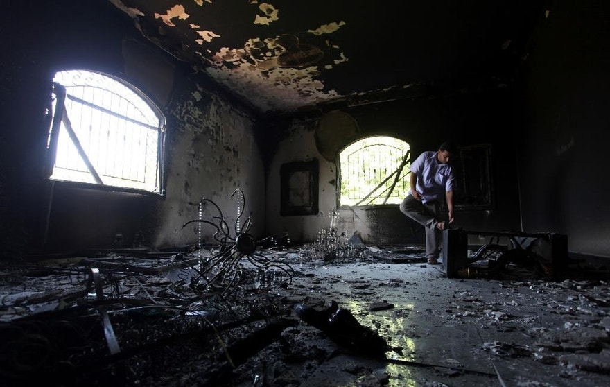 Sept. 13, 2012: A Libyan man investigates the inside of the U.S. consulate in Benghazi, Libya.