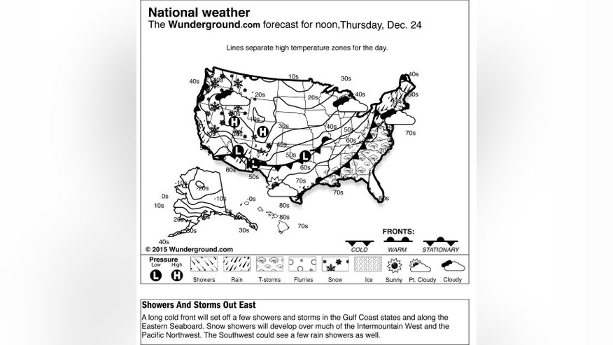 This is the National Weather Underground forecast for Thursday, Dec. 24, 2015. A long cold front will set off a few showers and storms in the Gulf Coast states and along the Eastern Seaboard. Snow showers will develop over much of the Intermountain West and the Pacific Northwest. The Southwest could see a few rain showers as well. (Weather Underground via AP)