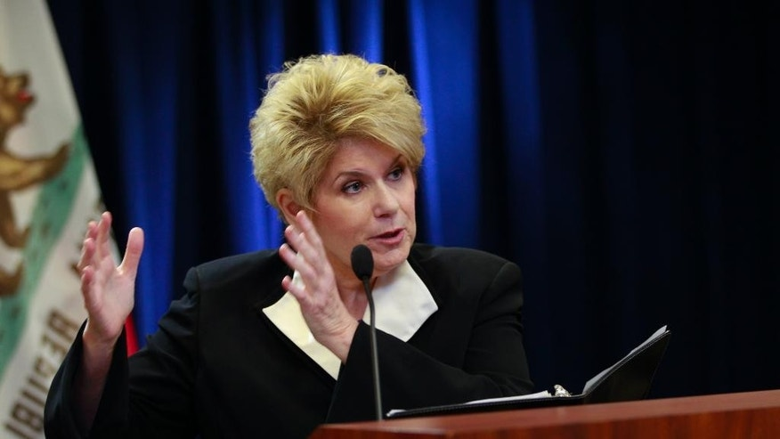 San Diego County District Attorney Bonnie Dumanis speaks during a news conference about a video showing the fatal shooting of an unarmed man by a police officer on Tuesday, Dec. 22, 2015, in San Diego. San Diego police Officer Neal Browder fatally shot Fridoon Rawshan Nehad, an unarmed man with a history of mental illness, on April 30 in an alley of the commercial Midway District. (Nelvin C. Cepeda/The San Diego Union-Tribune via AP)  NO SALES; MANDATORY CREDIT