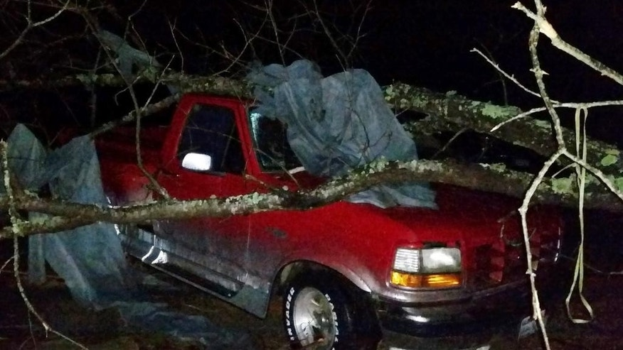 A fallen tree rests atop a pickup truck in Holly Springs, Miss., after a storm struck the town on Wednesday, Dec. 23, 2015. A storm system killed several people as it swept across the South, and officials are searching for missing people into the night. (AP Photo/Phillip Lucas)