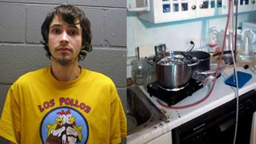 Daniel Kowalski's 2014 mugshot alongside an image of the materials police said they found in his dwelling.